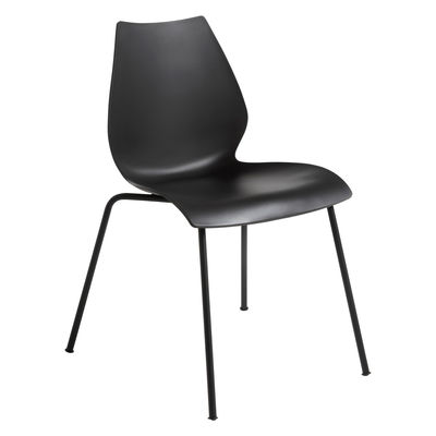 Furniture - Chairs - Maui Stacking chair - / Plastic by Kartell - Charcoal grey / Black legs - Polypropylene, Varnished steel