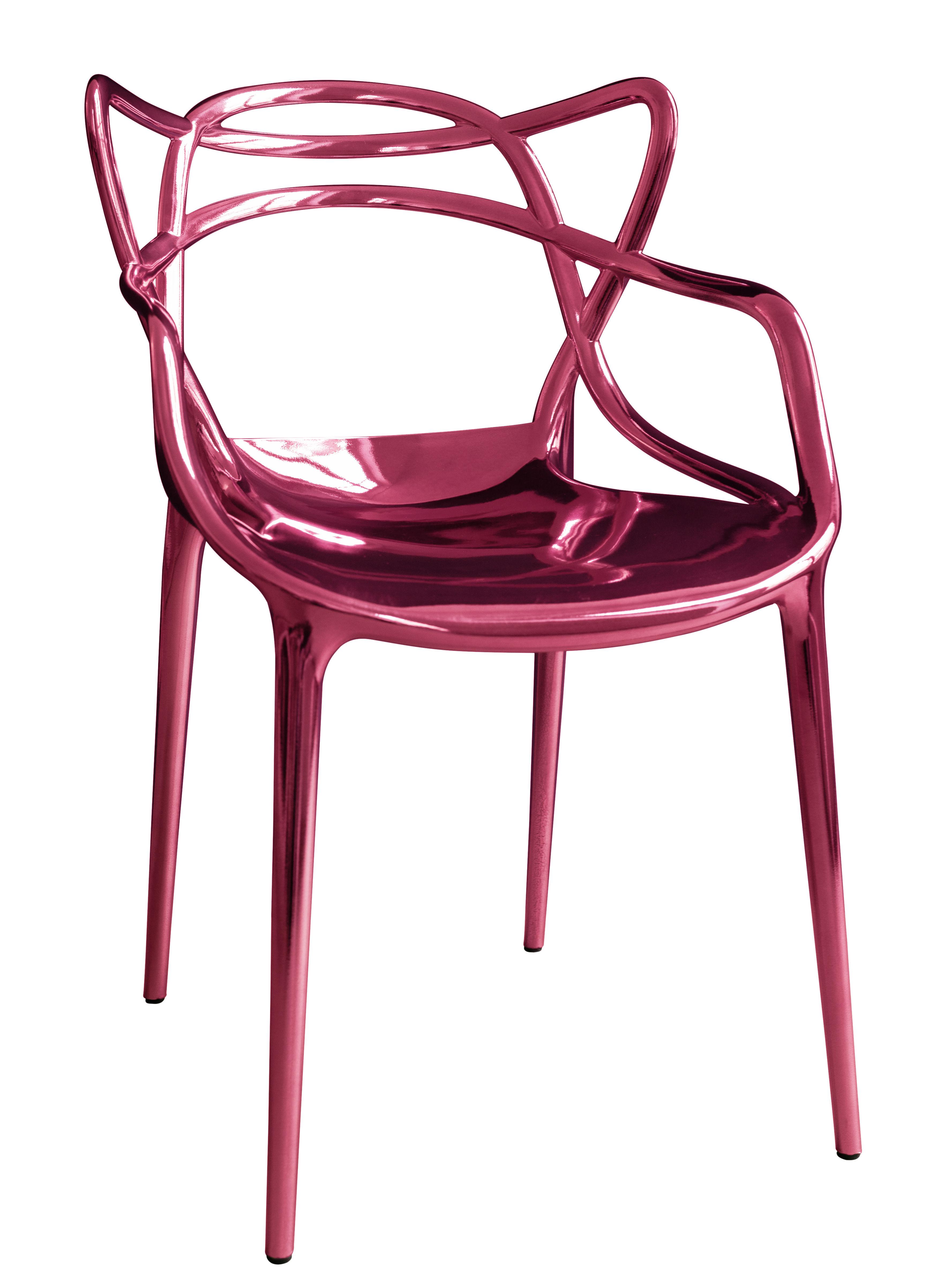 Möbel - Stühle  - Masters Stapelbarer Sessel / Metallic - Limited Edition 20 Jahre MID - Kartell - Metallic-rosa - ABS im Metall-Finish