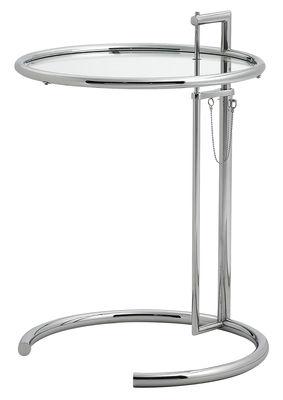 Table d'appoint E 1027 / Réédition 1927 - Hauteur réglable - ClassiCon métal en métal/verre