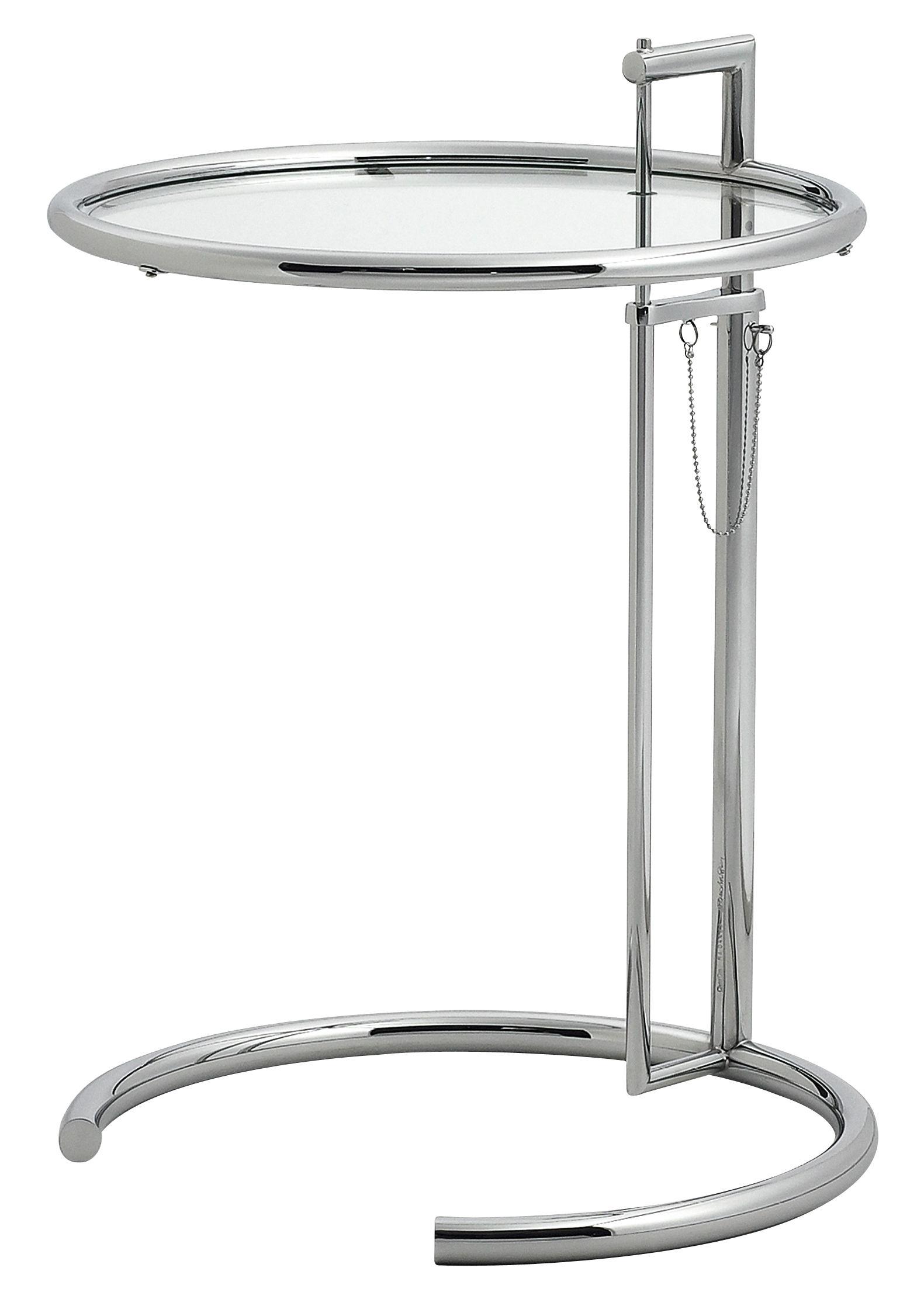 Mobilier - Tables basses - Table d'appoint E 1027 / Réédition 1927 - Hauteur réglable - ClassiCon - Chromé / Verre transparent - Acier chromé, Verre