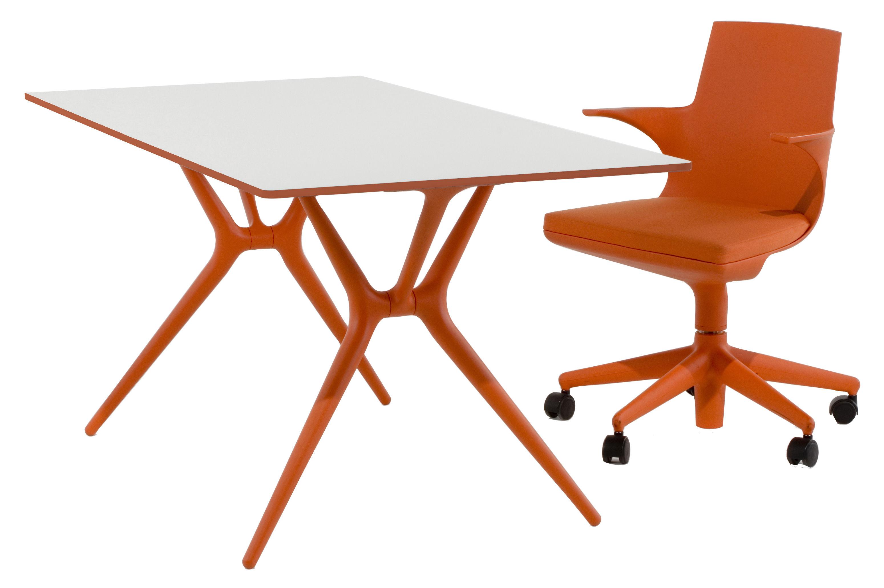 Table pliante spoon bureau 200 x 90 cm plateau blanc pieds orange kartell for Bureau kartell