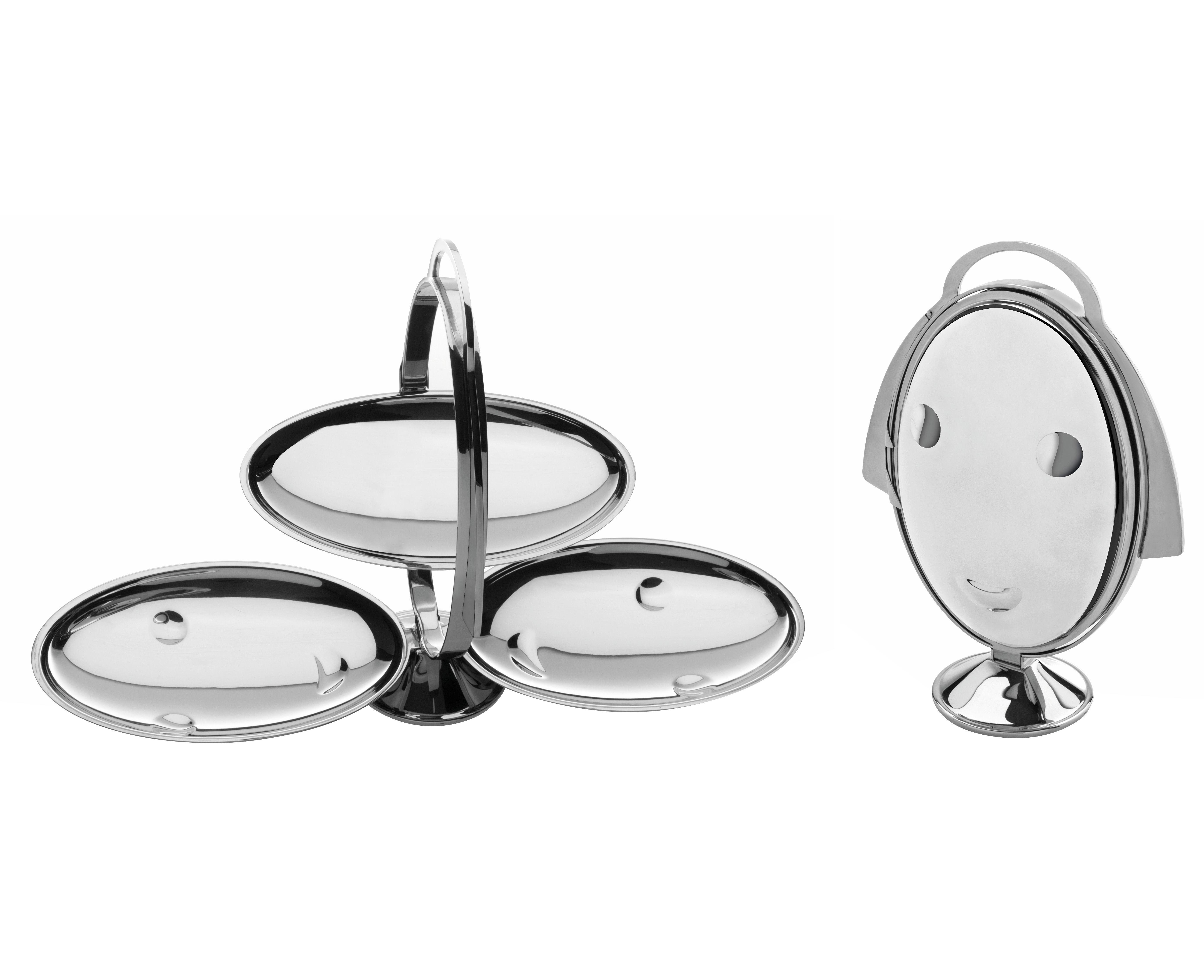 Tischkultur - Platten - Anna gong Tablett faltbare Etagère - 3 Ebenen - Alessi - Stahl glänzend - rostfreier Stahl