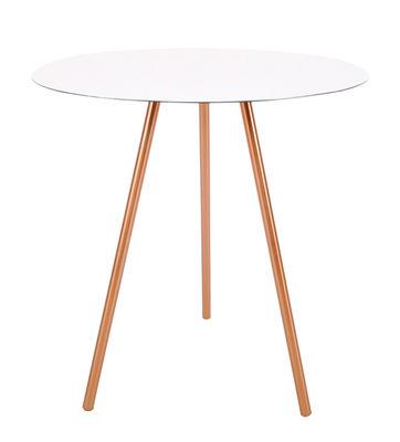 Arredamento - Tavolini  - Tavolino basso Elle / H 44,5 cm - XL Boom - H 44,5 cm - Bianco & Rame - Metallo - Alluminio