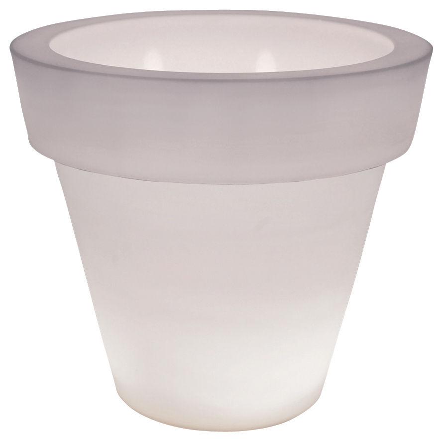 Arredamento - Mobili luminosi - Vaso per fiori luminoso Vas-Two Light di Serralunga - Bianco semi-trasparente - Polietilene