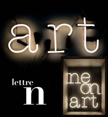 Applique avec prise Neon Art / Lettre N - Seletti blanc en verre