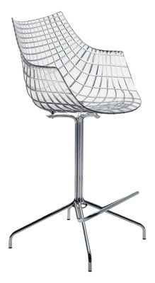 Furniture - Bar Stools - Meridiana Bar chair - H 65 cm - Polycarbonate by Driade - Transparent - Chromed steel, Polycarbonate