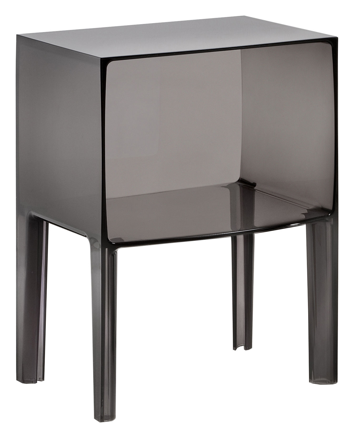 Furniture - Bedside & End tables - Small Ghost Buster Bedside table by Kartell - Smoke - PMMA