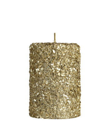 Bougie Pillar / Small - H 10 cm - & klevering or pailleté en cire