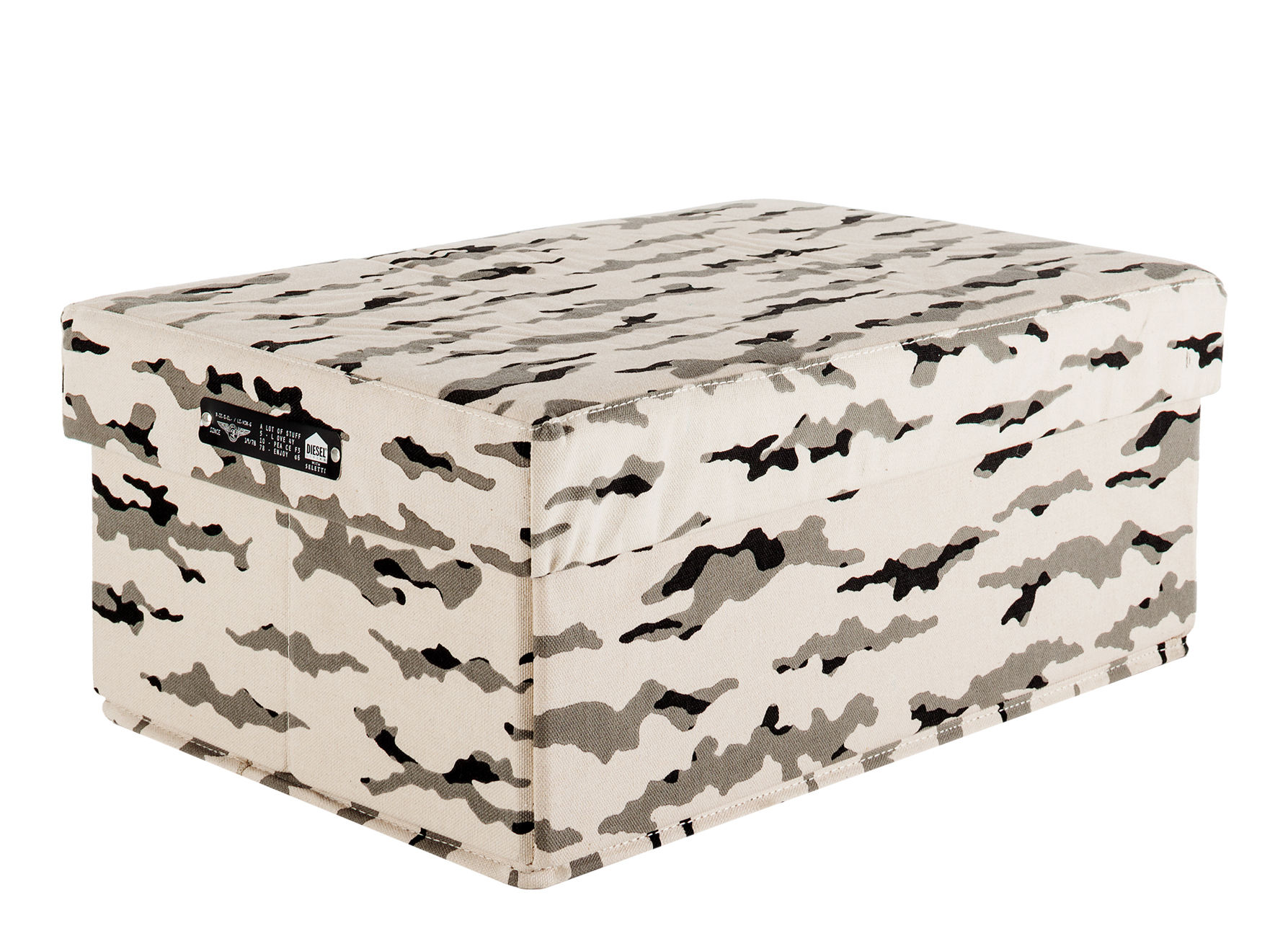Decoration - Decorative Boxes - Soft Box - / Fabric - L 31 x H 19 cm by Diesel living with Seletti - Pastel pink camouflage - Cardboard, Nylon