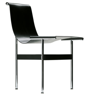 Furniture - Chairs - New york Chair - / Leather - 1952 Reissue by ICF - Black leather - Chromed steel, Leather