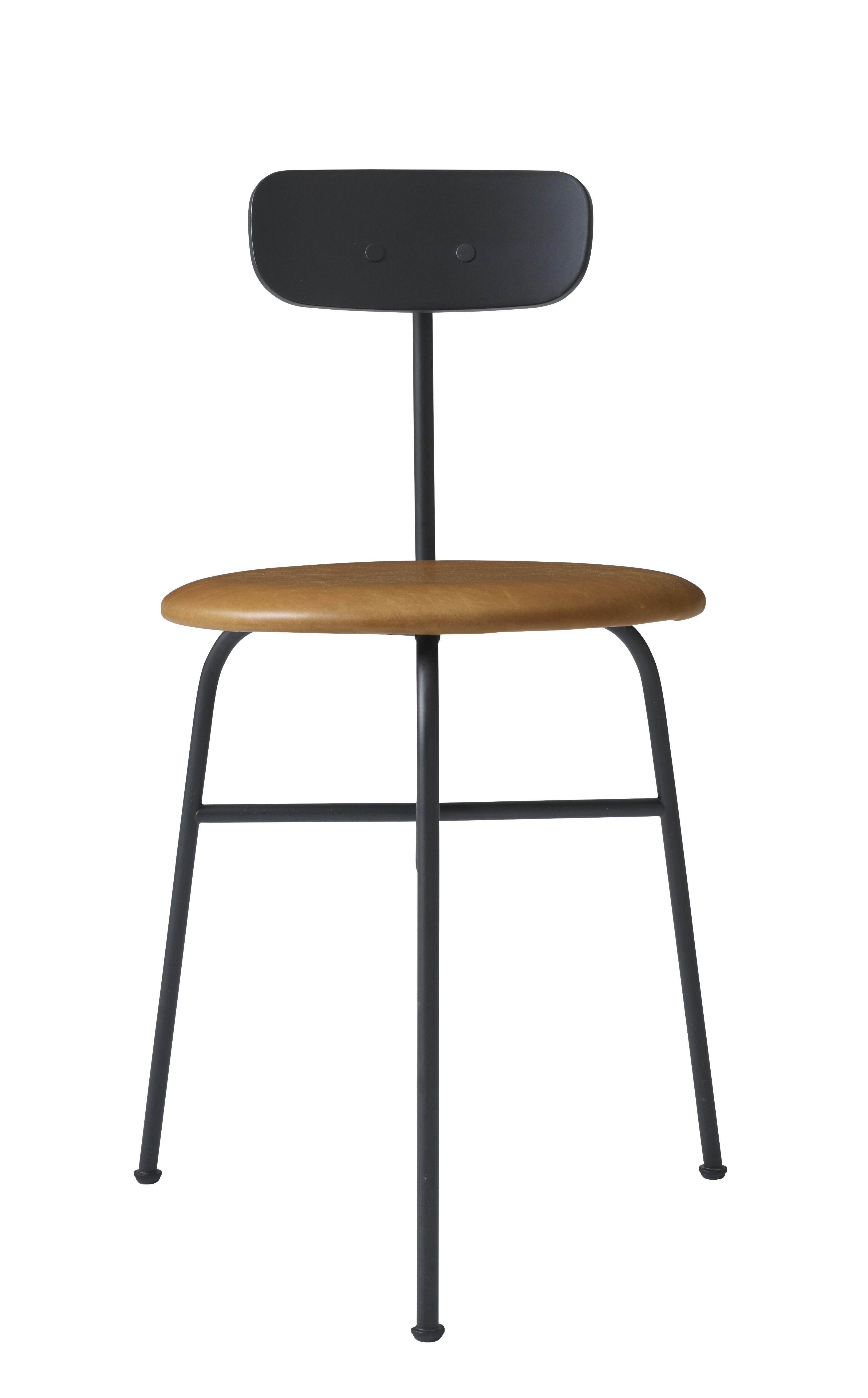 chaise rembourr e afteroom cuir bois assise cuir cognac noir menu made in design. Black Bedroom Furniture Sets. Home Design Ideas