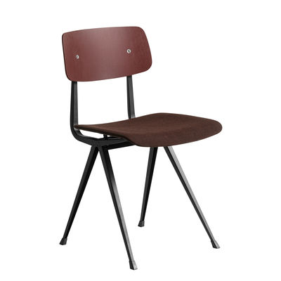 Mobilier - Chaises, fauteuils de salle à manger - Chaise Result / Tissu - Réédition 1958 - Hay - Tissu & bois : bordeaux / Structure noire - Acier laqué, Contreplaqué de chêne teinté, Tissu Kvadrat