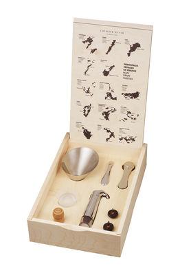 Coffret Oeno Box Connoisseur n°3 / 7 pièces œnologie - L´Atelier du Vin bois naturel en métal
