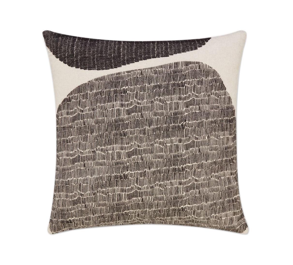Déco - Coussins - Coussin Stitch / 60 x 60 cm - Brodé - Tom Dixon - Noir & beige - Coton, Plumes canard, Polyetser