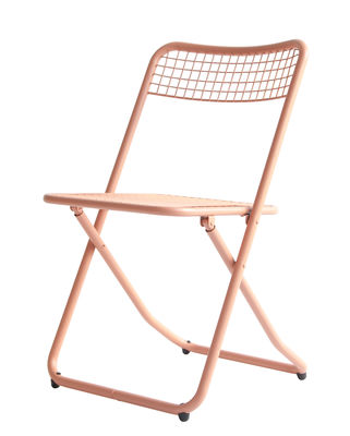 Furniture - Chairs - 085 Folding chair - / Metal mesh by Houtique - Powder pink - Epoxy lacquered steel