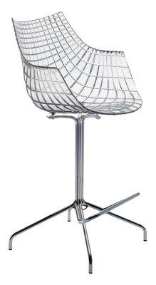 Möbel - Barhocker - Meridiana Hochstuhl - Driade - Transparent - Polykarbonat, verchromter Stahl