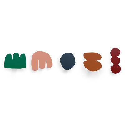 Furniture - Coat Racks & Pegs - Enri Hook - / Set of 5 - Metal by Presse citron - Multicoloured - Lacquered steel