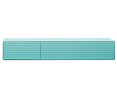 Möbel - Aufbewahrungsmöbel - Toshi Kiste / Modell N° 3 - L 78 cm x H 13,3 cm - Casamania - Türkisblau - lackierte Holzfaserplatte, Metall