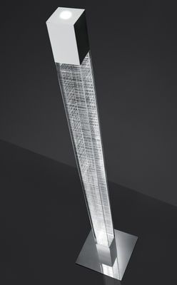 Illuminazione - Lampade da terra - Lampada a stelo Mimesi LED - / H 180 cm di Artemide - Trasparente / Quadrettatura bianca - Acciaio lucidato, Metacrilato