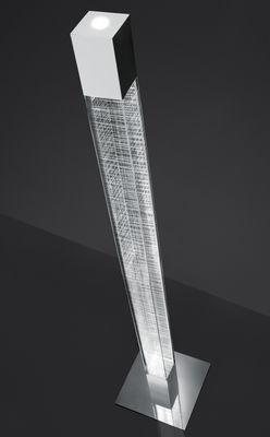 Luminaire - Lampadaires - Lampadaire Mimesi LED / H 180 cm - Artemide - Transparent / Quadrillage blanc - Acier poli, Méthacrylate