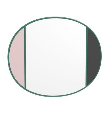 Tous les designers - Miroir mural Vitrail / 50 x 60 cm - Magis - Cadre vert / Rose & gris - Caoutchouc, Verre