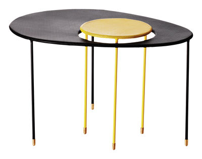 Furniture - Coffee Tables - Kangourou Nested tables - Set of 2 modular tables - Reissue 50' by Gubi - Black / Yellow - Stainless steel