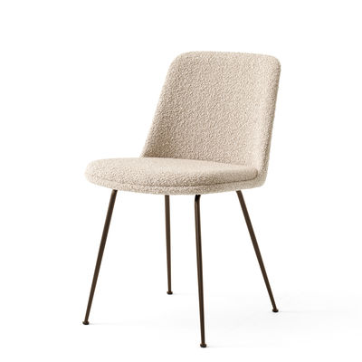 Furniture - Chairs - Rely HW9 Padded chair - / Looped wool by &tradition - Beige looped wool / Bronze legs - Curly wool, Fibreglass, HR foam, Recycled polypropylene, Steel