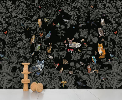 Decoration - Wallpaper & Wall Stickers - Fôret noire Wallpaper by Domestic - Black - Intisse paper