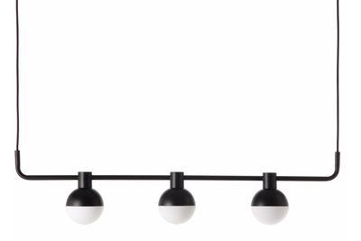 Fabian Pendelleuchte / 3 horizontale Spots - L 110 cm - Frandsen - Schwarz mattiert,Opalinweiß