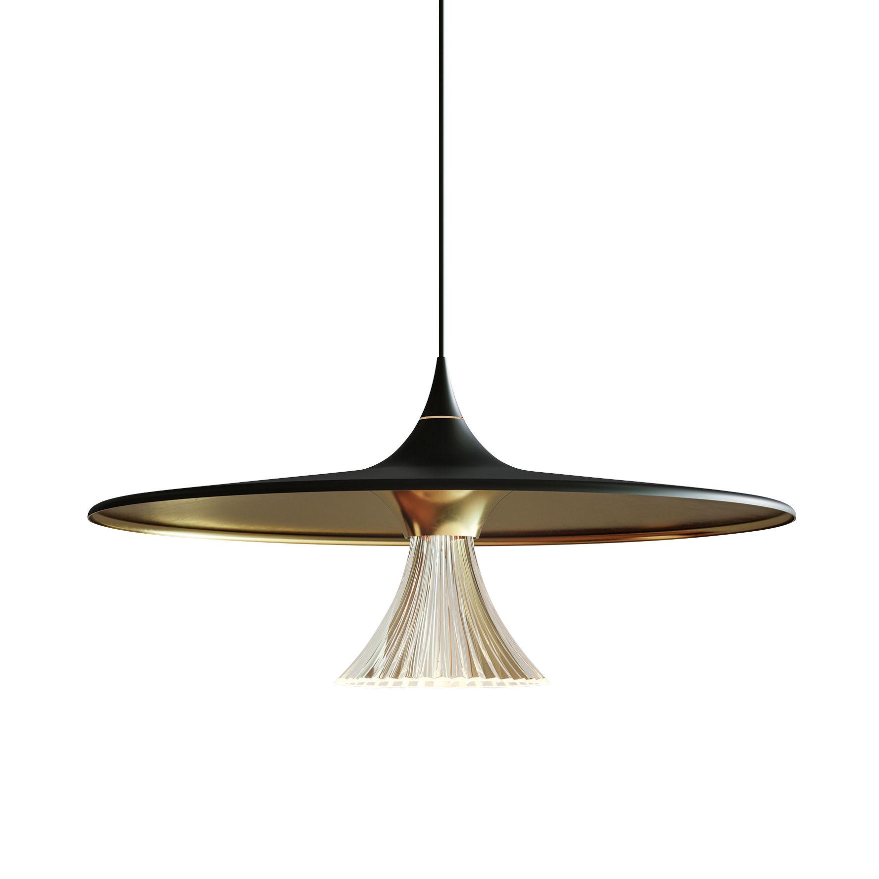 Leuchten - Pendelleuchten - Ipno Pendelleuchte / LED - Ø 62 cm - Artemide - Schwarz & goldfarben - bemaltes Aluminium, Methacrylate