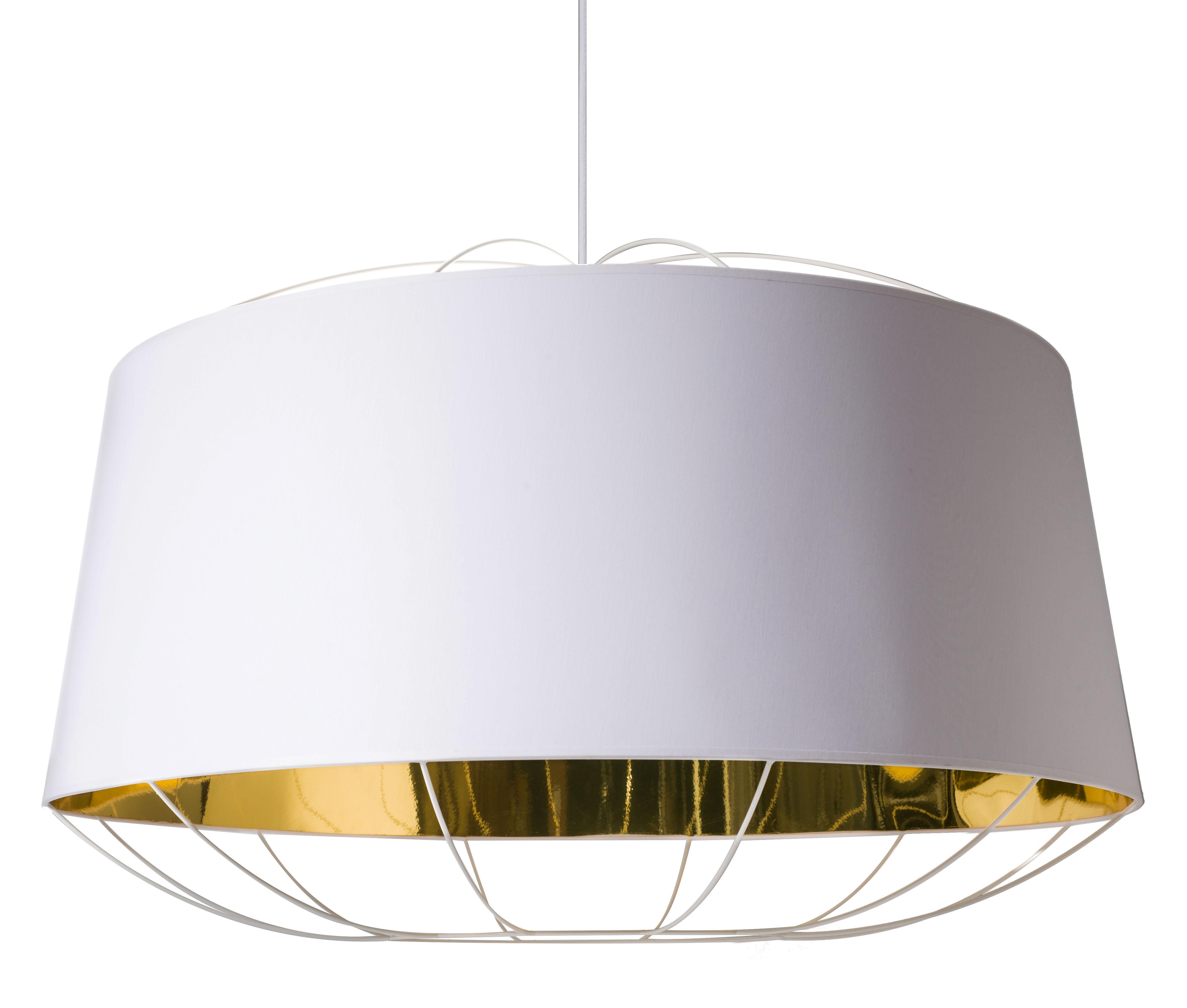 Leuchten - Pendelleuchten - Lanterna Large Pendelleuchte / Ø 75 cm x H 49 cm - Petite Friture - Weiß / goldfarben - Baumwolle, lackierter Stahl, PVC