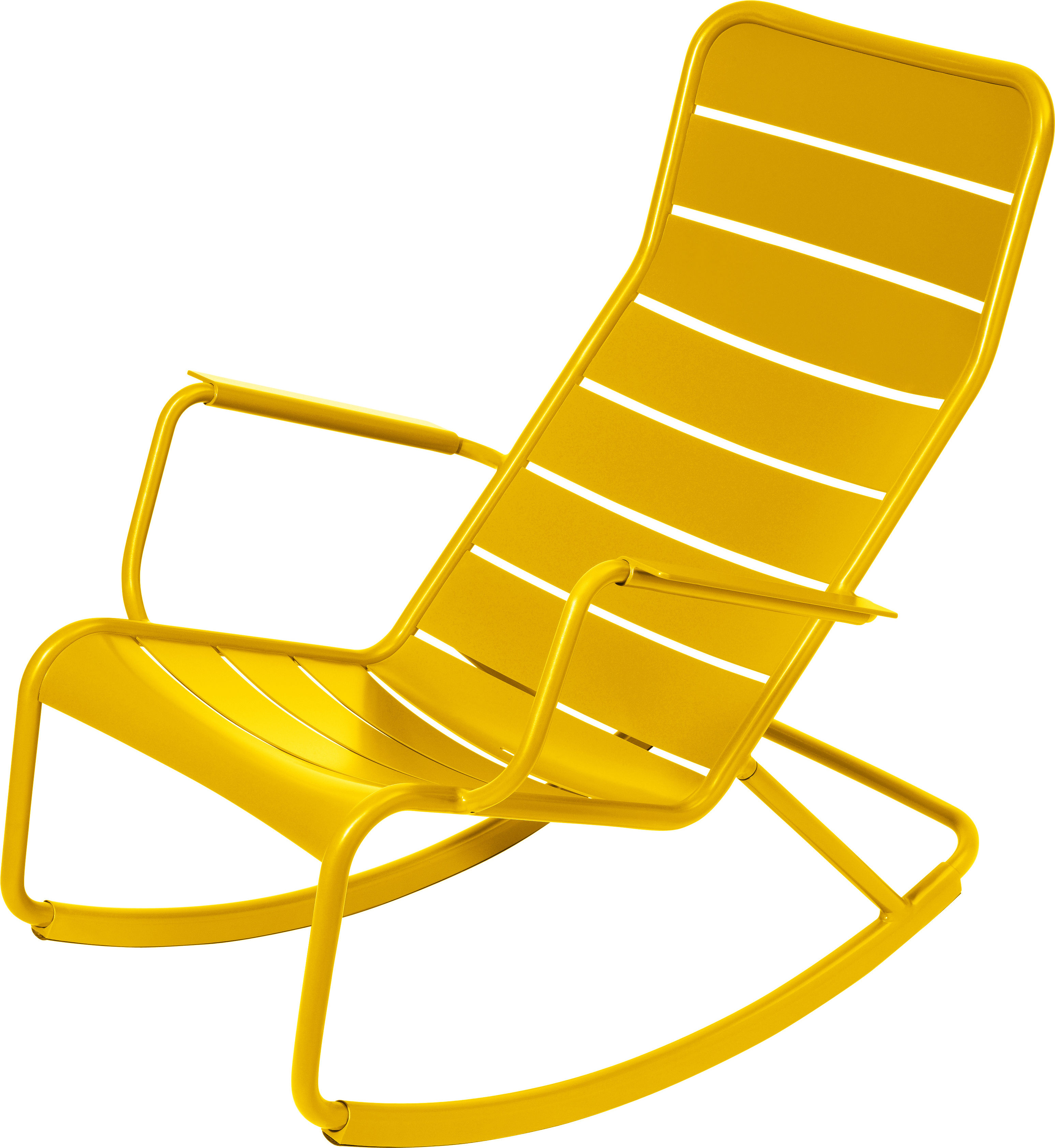 Life Style - Rocking chair Luxembourg / Aluminium - Fermob - Miel - Aluminium laqué