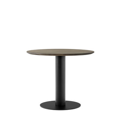 Furniture - Dining Tables - In Between SK11 Round table - / Central leg - Ø 90 - Oak by &tradition - Smoked oak / Black base - Metal, Smoked solid oak