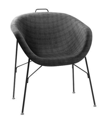 Möbel - Stühle  - Eu/phoria Fashion Sessel Sitzfläche Alcantara - Eumenes - Gestell schwarz / Sitzschale mit grau-schwarzem Stoffbezug - gefirnister Stahl, Holz, Polypropylen, Tissu Alcantara