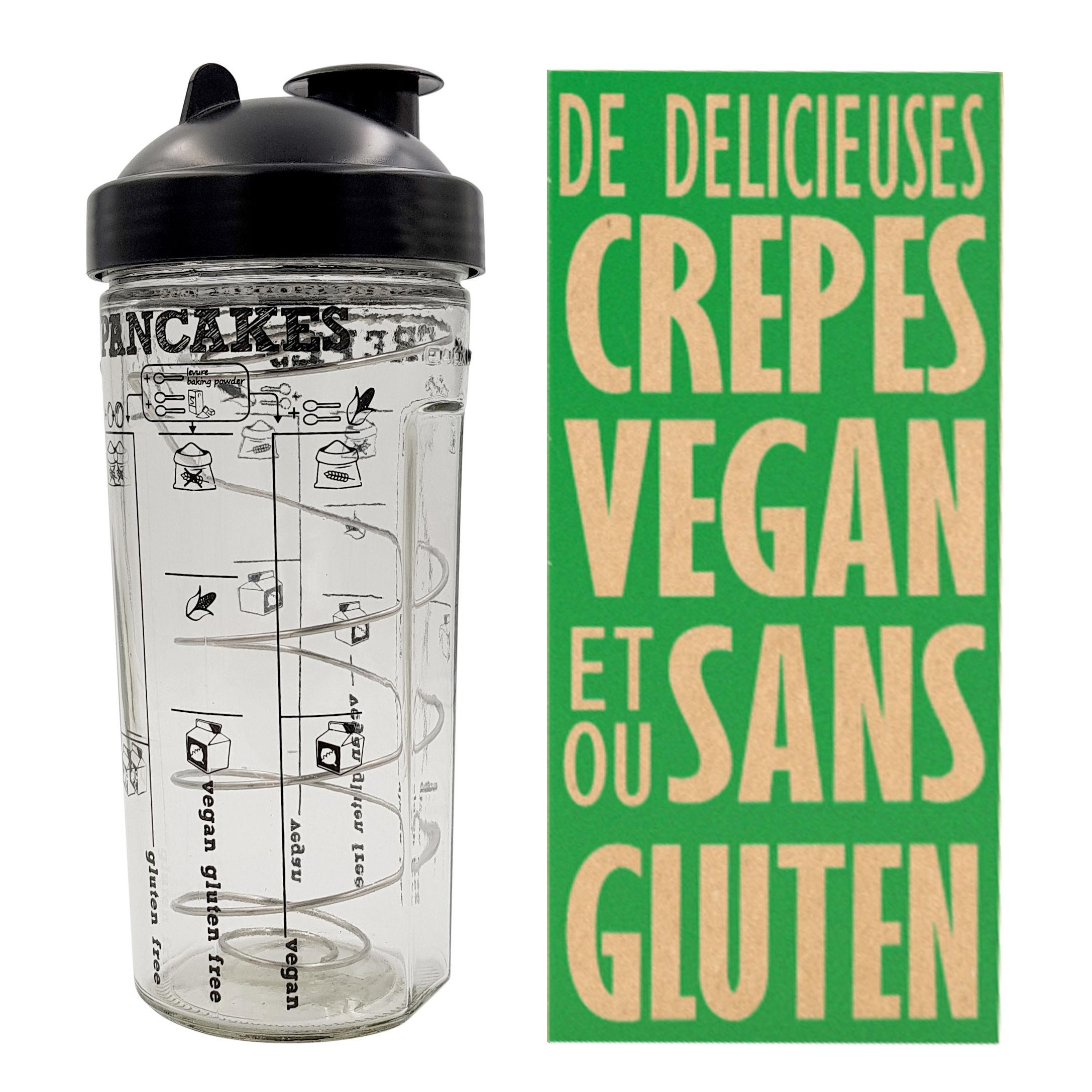 Cuisine - Ustensiles de cuisines - Shaker Miam Vegan / Pour crêpes et pancakes VEGAN en 2 minutes - Cookut - Transparent / Noir - Inox, Silicone, Verre