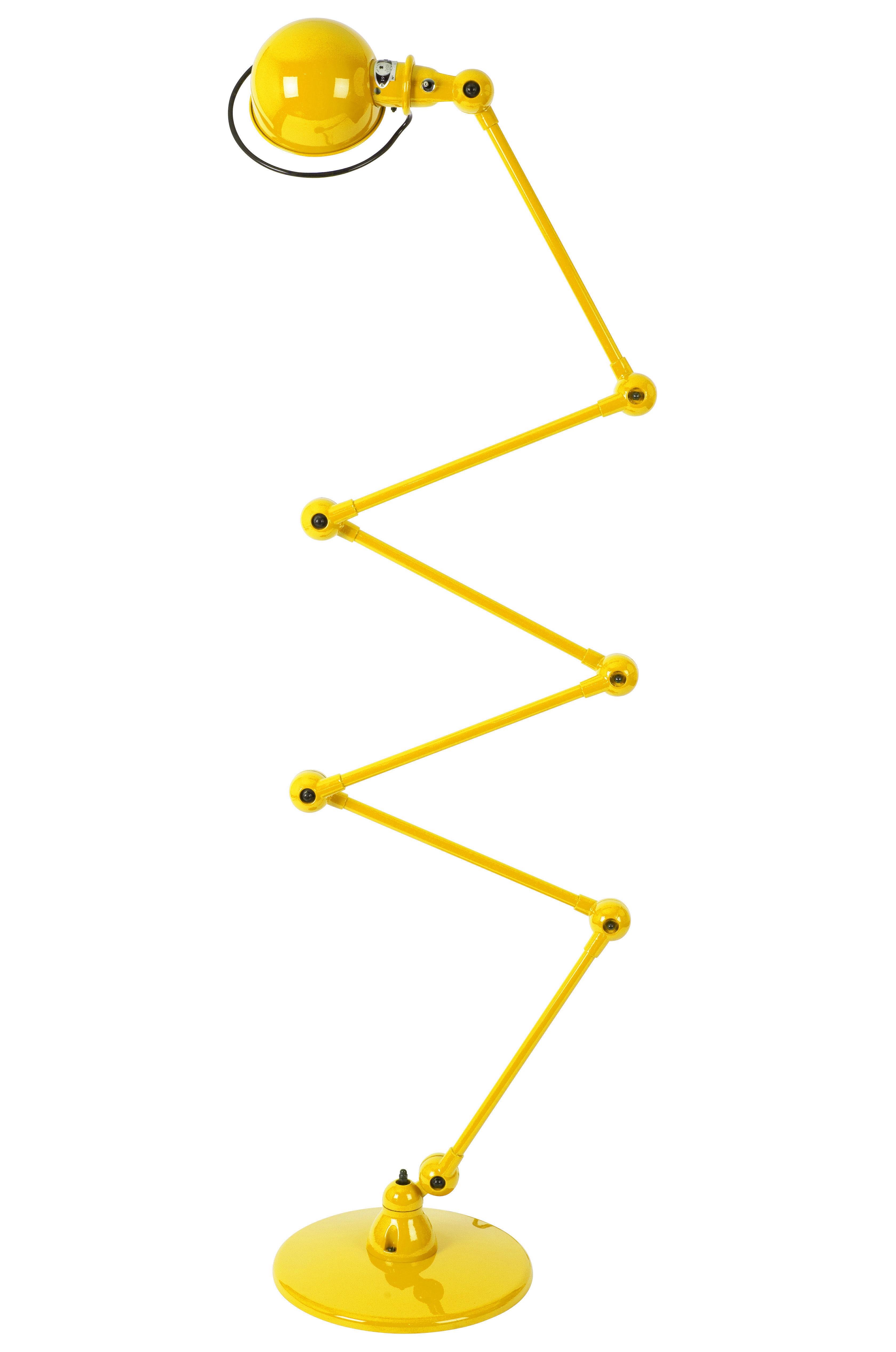 Leuchten - Stehleuchten - Loft Zigzag Stehleuchte / mit 6 Gelenkarmen - H max. 240 cm - Jieldé - Senffarben, glänzend - rostfreier Stahl