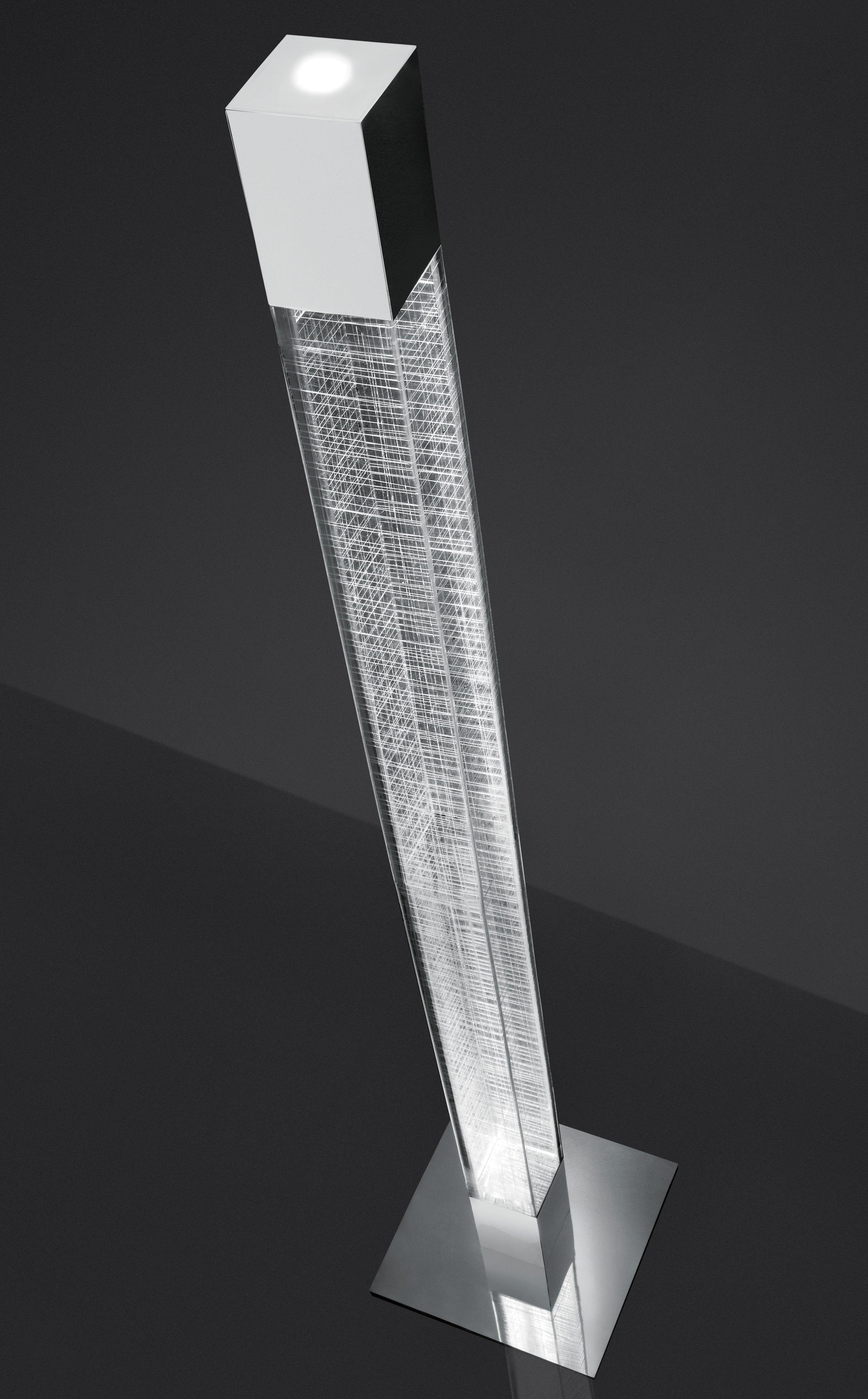 Leuchten - Stehleuchten - Mimesi LED Stehleuchte / H 180 cm - Artemide - Transparent / weißes Karomuster - Methacrylate, polierter Stahl