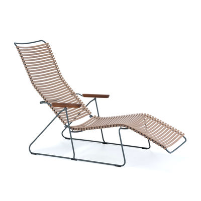 Outdoor - Sun Loungers & Hammocks - Click Sun lounger - - Multi-position backrest by Houe - Sand - Bamboo, Metal, Plastic material