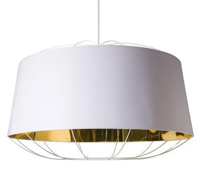 Suspension Lanterna Large / Ø 75 x H 49 cm - Petite Friture blanc/or en métal/tissu