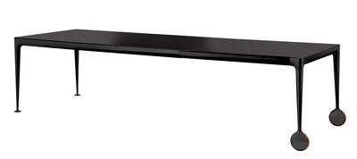 Arredamento - Tavoli - Tavolo con prolunga Big Will - / L 200 a 300 cm di Magis - Piano nero / Gambe nere - Ghisa di alluminio verniciato, Gomma, Vetro temprato