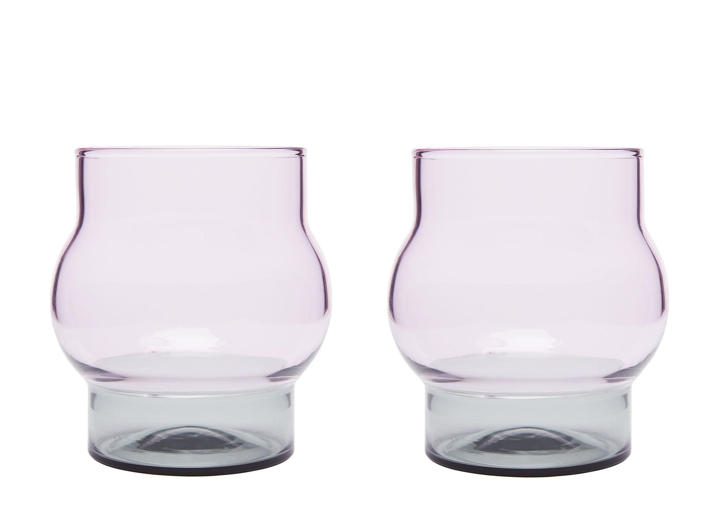 Arts de la table - Verres  - Verre Bump Small / H 9 cm - Set de 2 - Tom Dixon - H 9 cm / Gris & rose - Verre borosilicate soufflé