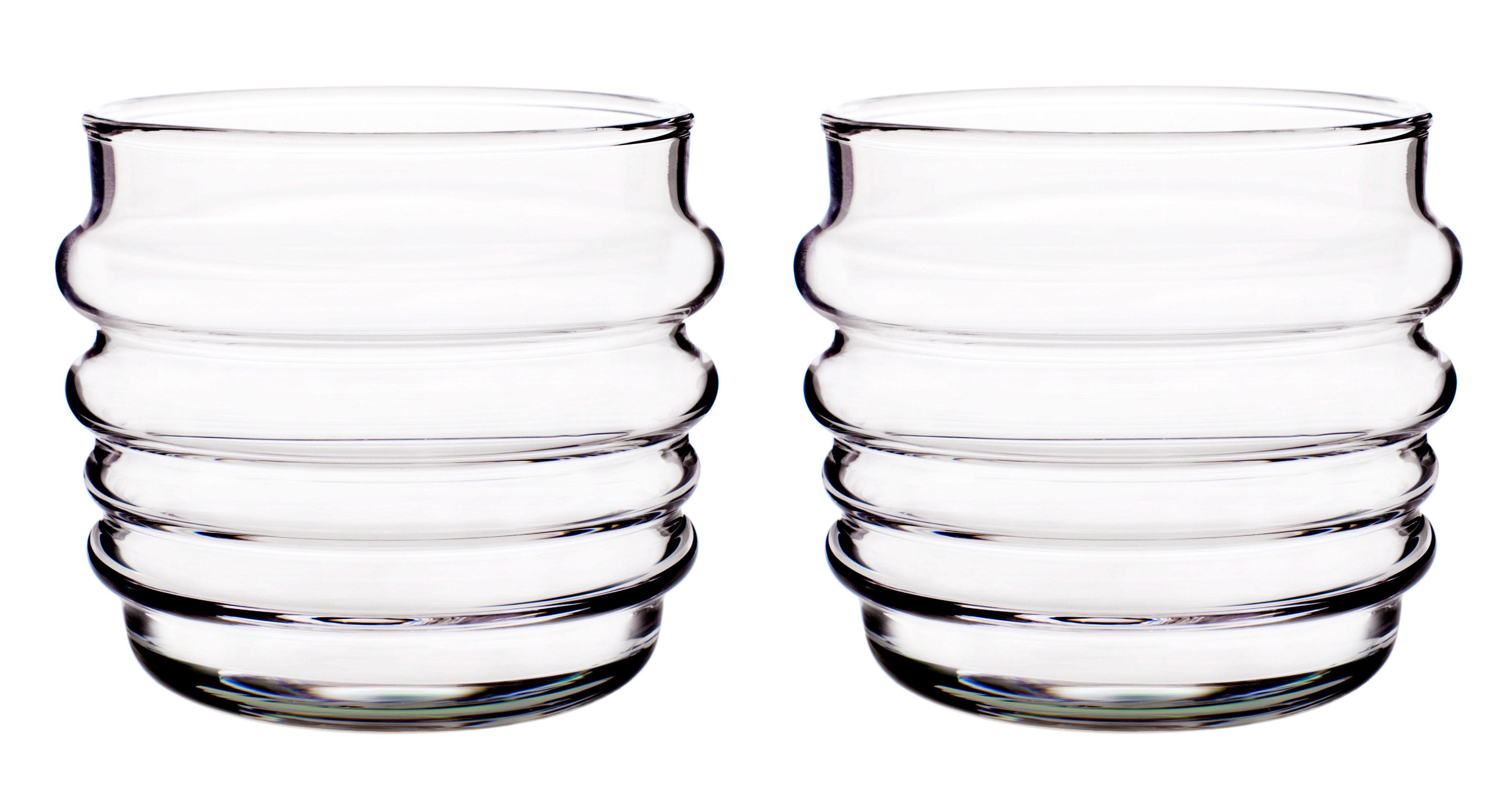 Arts de la table - Verres  - Verre Sukat Makkaralla / Set de 2 - Marimekko - Transparent - Verre soufflé bouche