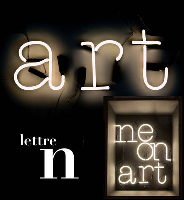 Lighting - Wall Lights - Neon Art Wall light with plug - Letter N by Seletti - White / Black cable - Glass