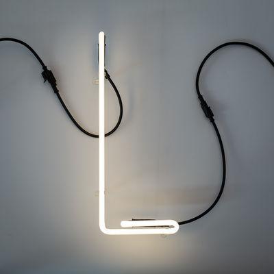 Applique avec prise Néon Alphafont / Lettre L - Seletti blanc,noir en verre