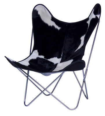 Furniture - Armchairs - AA Butterfly Armchair - Leather / Chromed structure by AA-New Design - Chromed frame / Black cow skin - Chromed steel, Leather