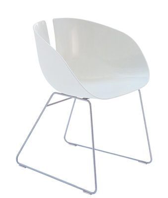 Furniture - Chairs - Fjord H Armchair by Moroso - Blanc / Acier - Composite plastic, Satin stainless steel