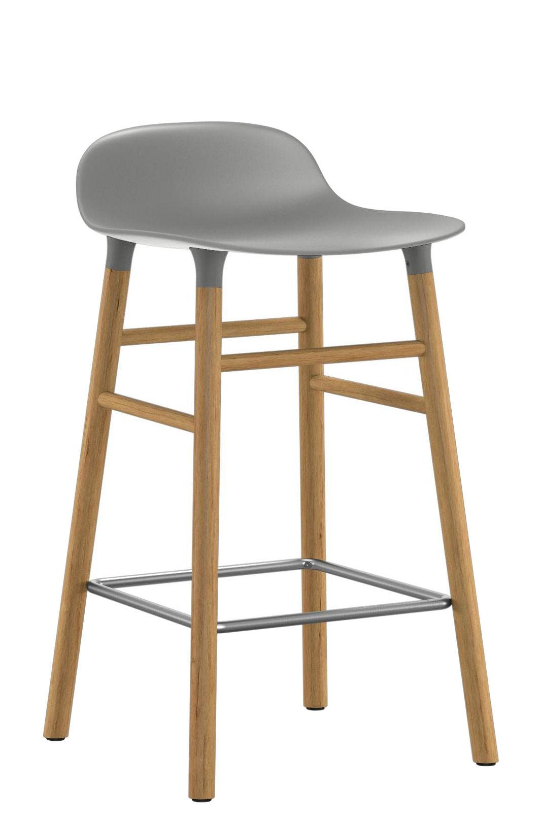 Furniture - Bar Stools - Form Bar stool - H 65 cm / Oak leg by Normann Copenhagen - Grey / oak - Oak, Polypropylene