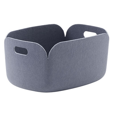 Accessories - Desk & Office Accessories - Restore Basket - / 35 x 48 cm - 100% recycled felt by Muuto - Grey-blue - Recycled felt