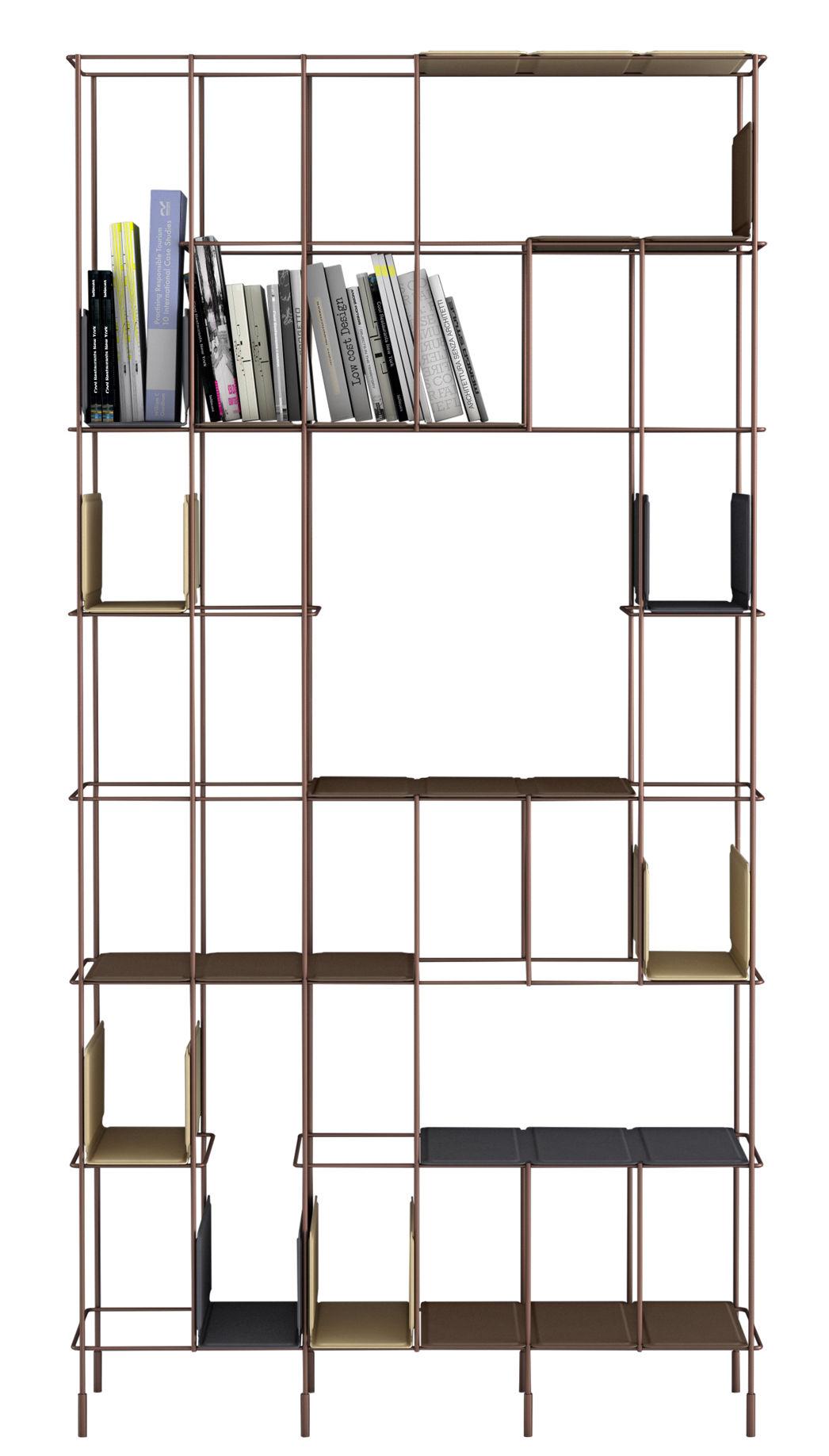 Mobilier - Etagères & bibliothèques - Bibliothèque Network / Etageres amovibles - L 98 x H192 cm - Casamania - Structure bronze / étagères : chocolat - Métal peint, Similicuir