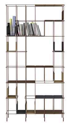Furniture - Bookcases & Bookshelves - Network Bookcase by Casamania - Bronze - Imitation leather, Painted metal